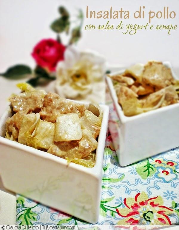 Insalata di pollo con salsa di yogurt e senape