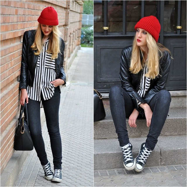 converse negras mujer outfit