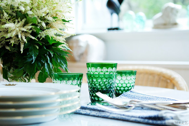 Green glasses on Rebecca de Ravenel's dining table