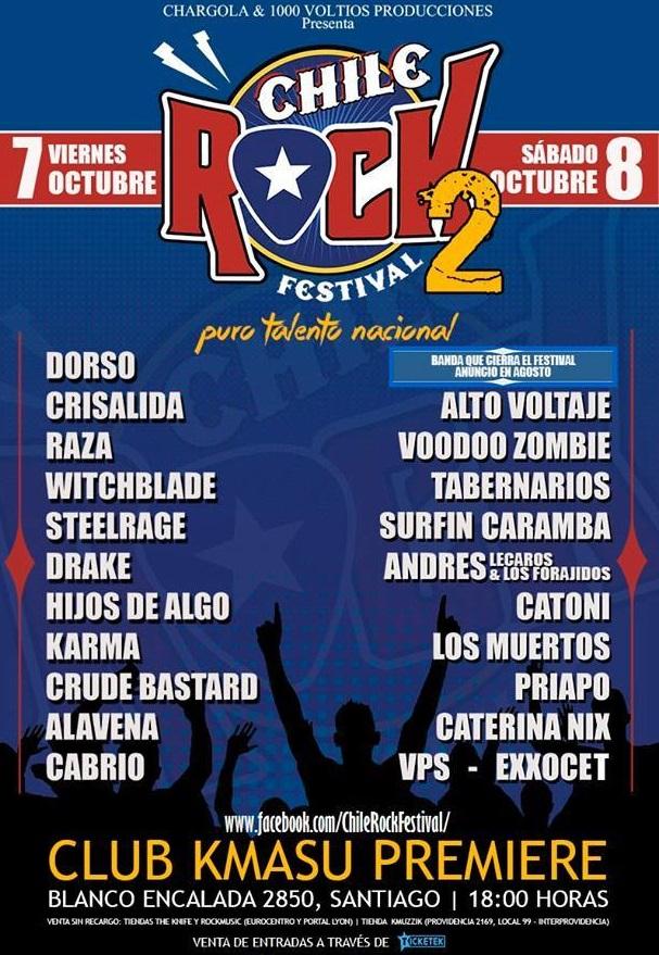 CHILE ROCK FESTIVAL 2016 - 7 y 8 de Octubre del 2016