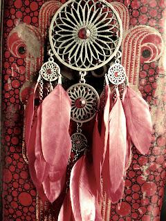 capteur de rêves, collier, accessoire, rouge, plumes, collier à plumes, bijoux indien