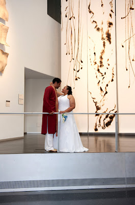 Tameka and Manoj in the main hall at the Bellevue Art Museum