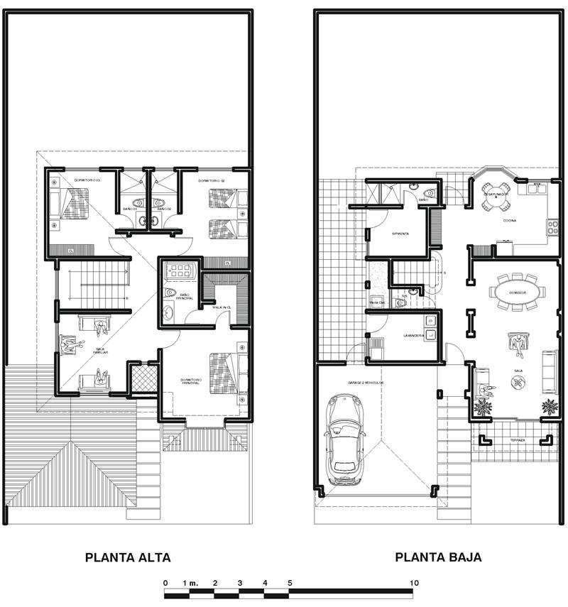 Plano arquitectonico de casa habitacion en 2 niveles for Planta de casa de dos pisos