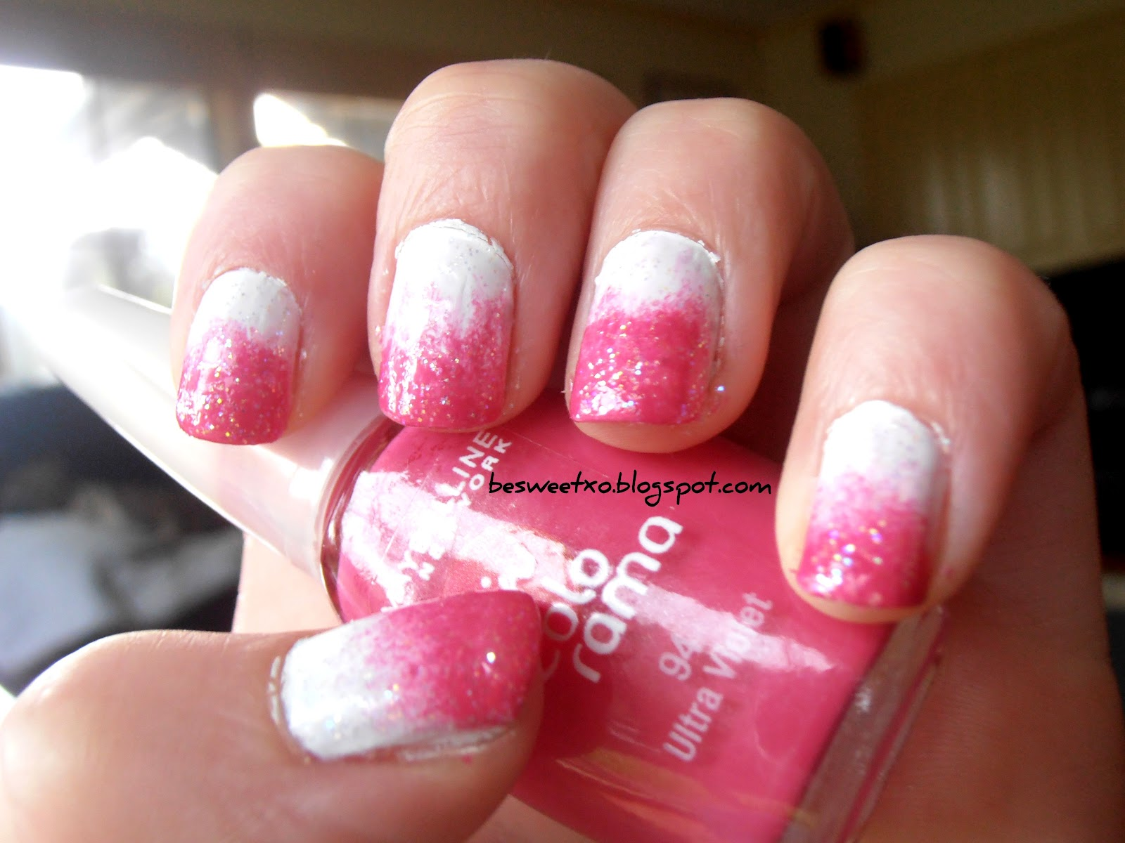 besweetxo: Pink To White Ombre Nails