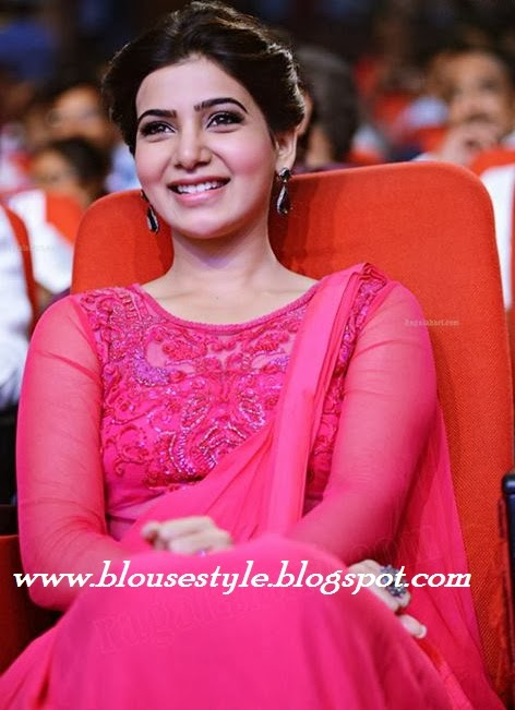 pink colour blouse with saree