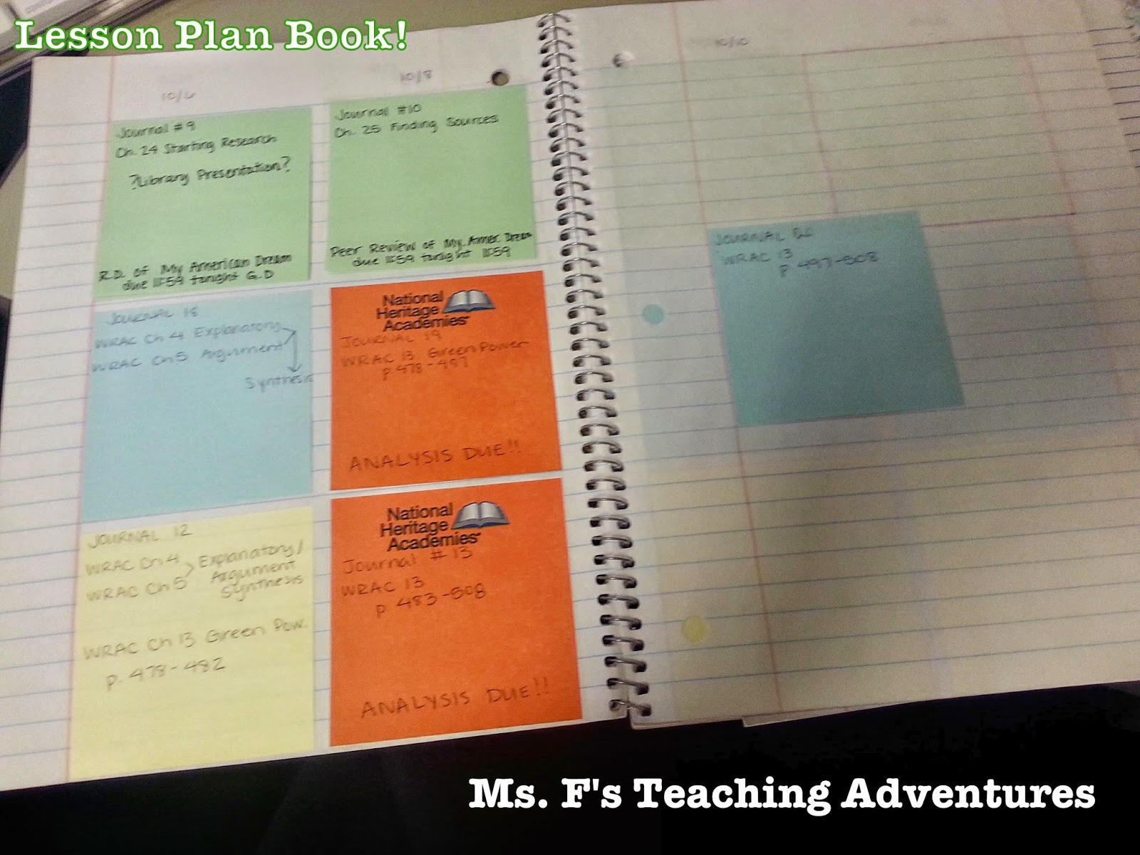 Ms f 39 s teaching adventures the quest for organization for Plan books
