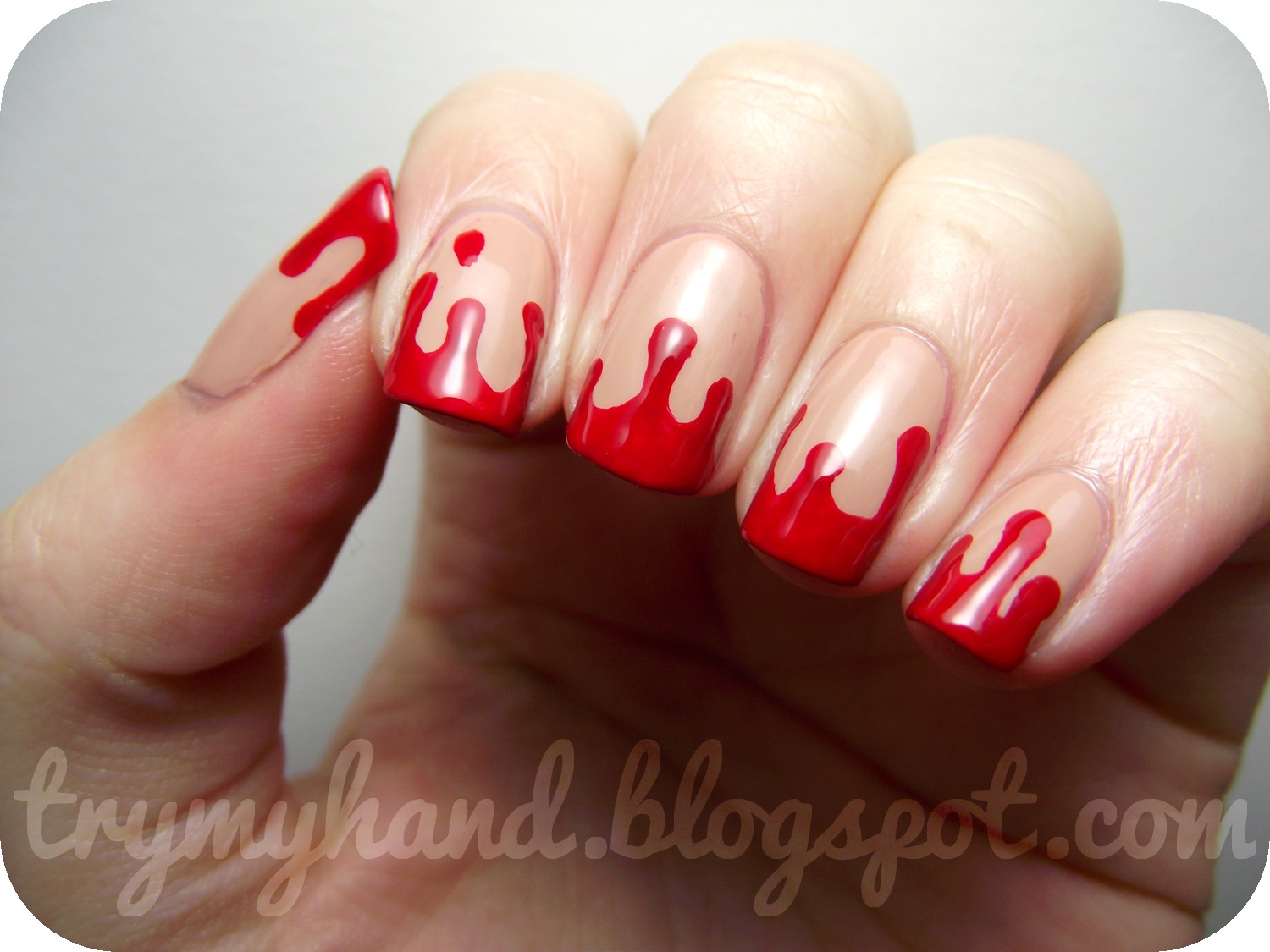 Try my hand halloween nails blood drips for this design i only used two different polishes p2 elegant for the nude base colour and then opi big apple red for the blood for the actual design prinsesfo Gallery