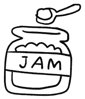 ジャムのイラスト モノクロ線画