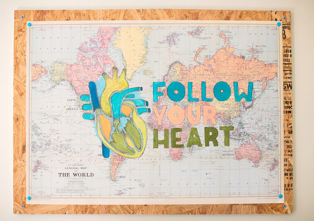 DIY art from map - follow your heart - mounted on plywood