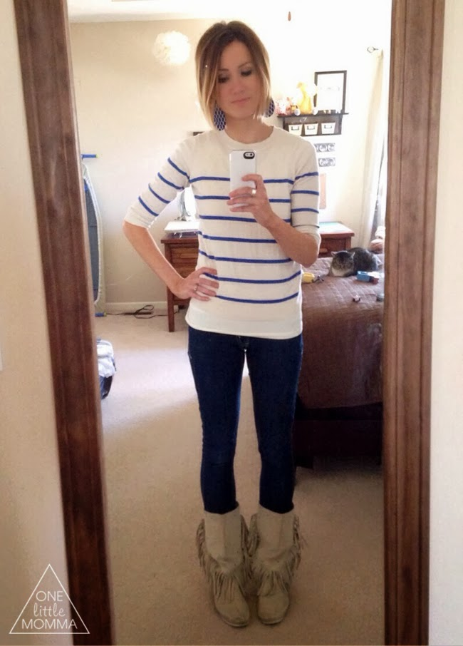Stripes, dark denim, fringed moccs