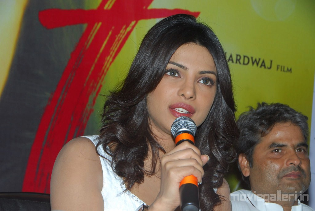 Priyanka Chopra at 7 Khoon Maaf Press Meet in Cinemax Hyderabad