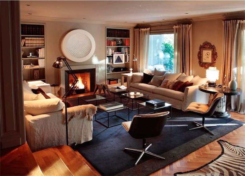 salon con alfombra de cebra