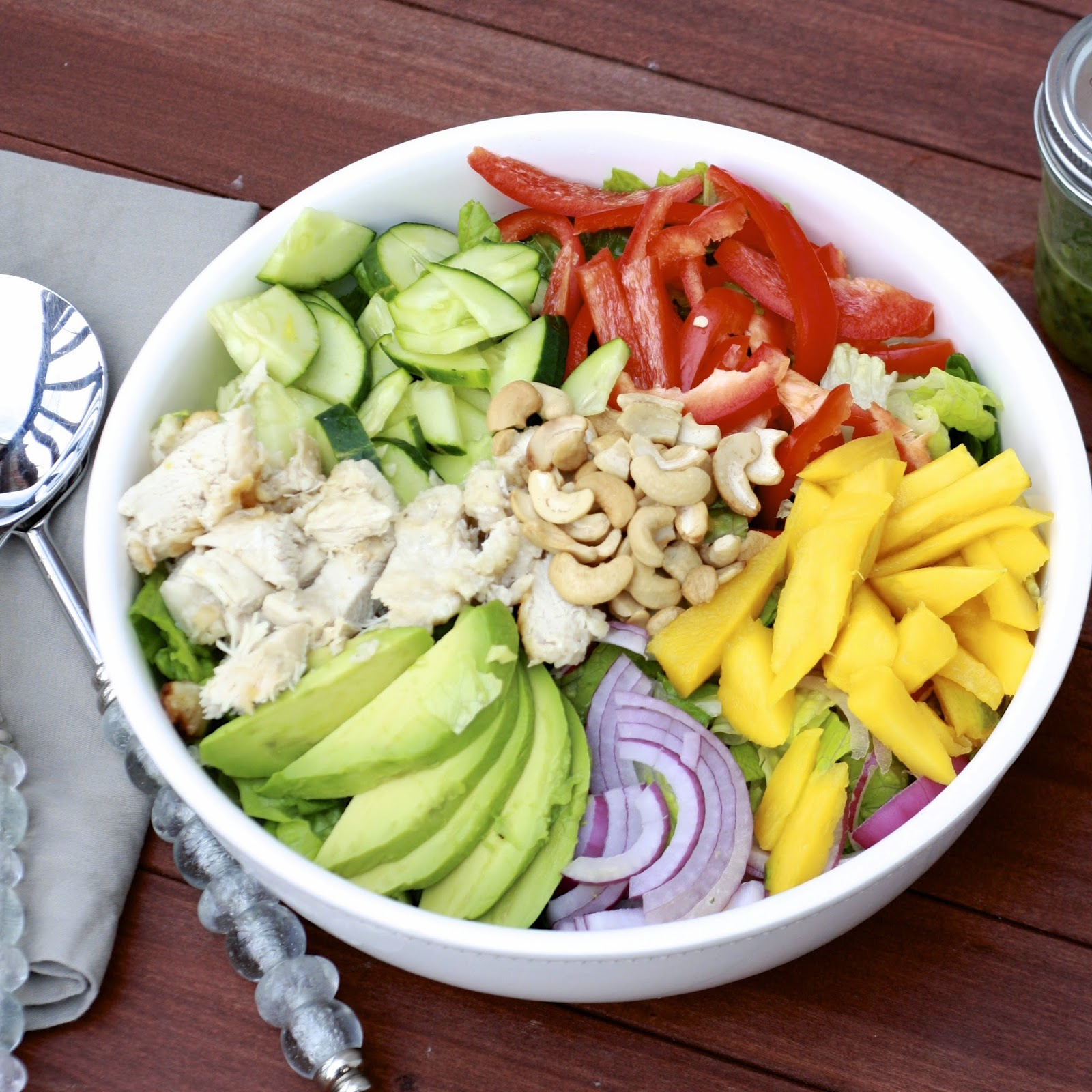 Chopped Mango Chicken Salad with Jalapeno Cilantro Vinaigrette | The Sweets Life
