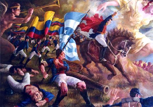 Dibujo de la Batalla de Pichincha