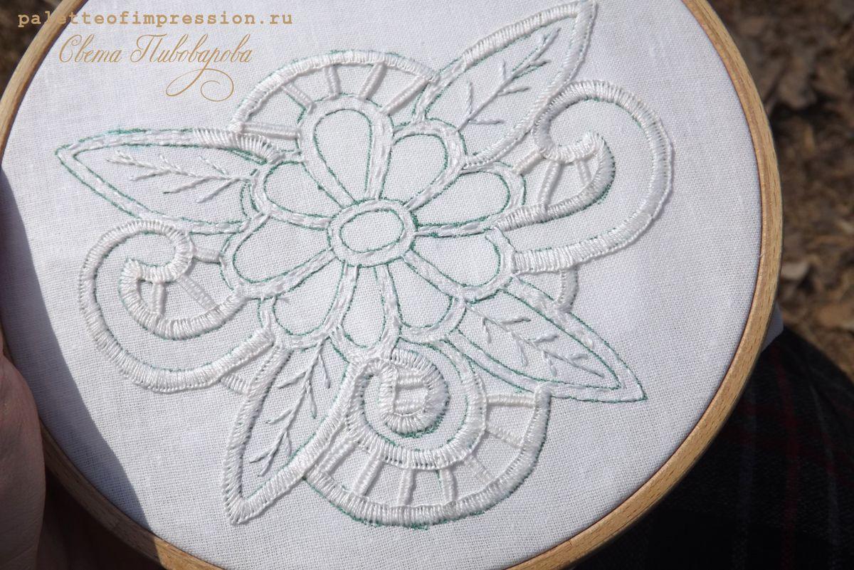 Ручная вышивка ришелье Hand embroidery cutwork  Рукодельный салон. Блог Вся палитра впечатлений. Palette of impression blog