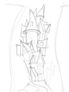 Rough Sketch of House/Castle on iPad
