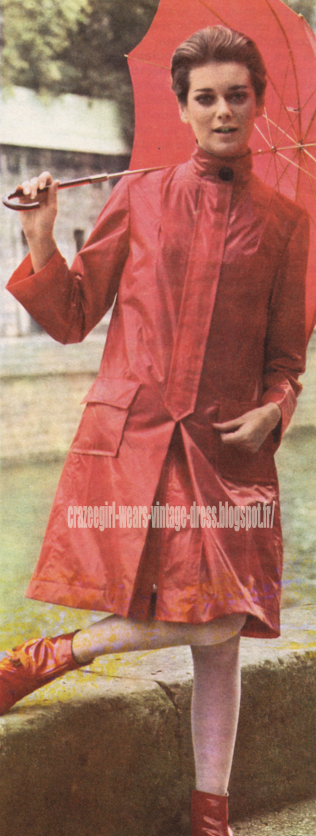 red raincoat rain coat 1966 60s 1960 mod
