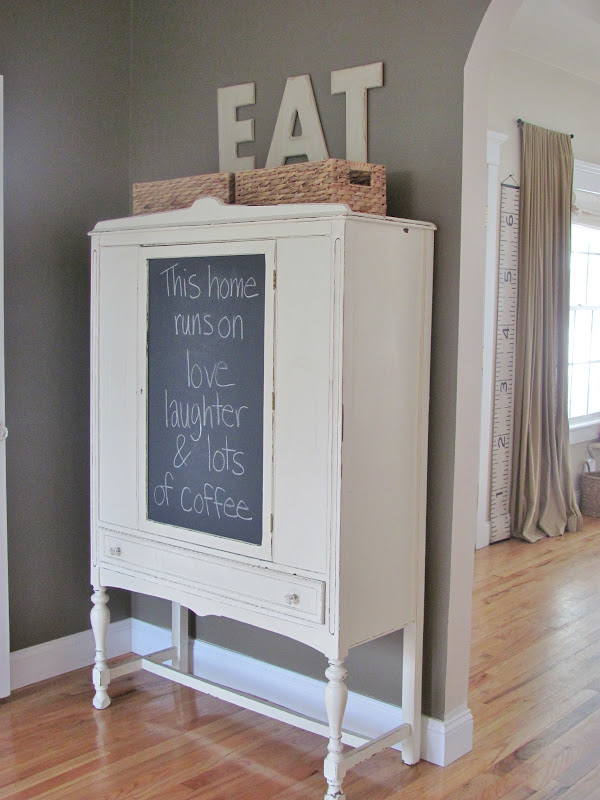 City Farmhouse Chalkboard Contact Paper Hutch Makeover