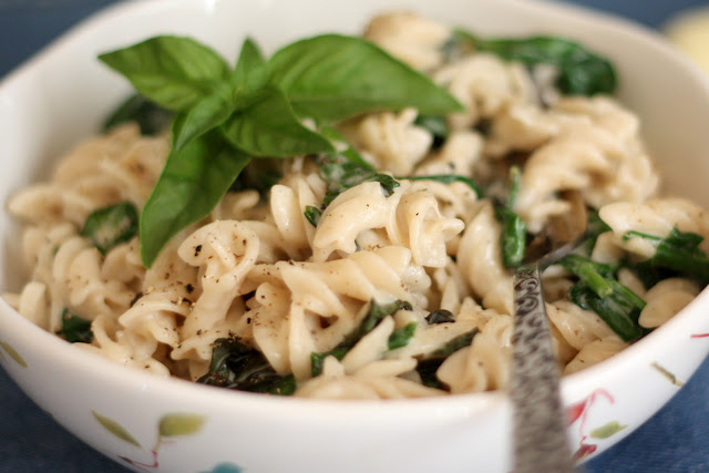 Creamy Parmesan Pasta with Basil and Spinach recipe by Barefeet In The Kitchen