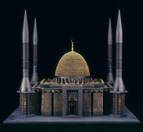al farrow esculturas relicários templos religiosos símbolos armas munição Mesquita