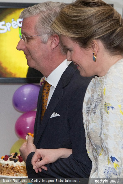 King Philippe and Queen Mathilde of Belgium visit the RTBF studio on March 19, 2015 in Brussels, Belgium.