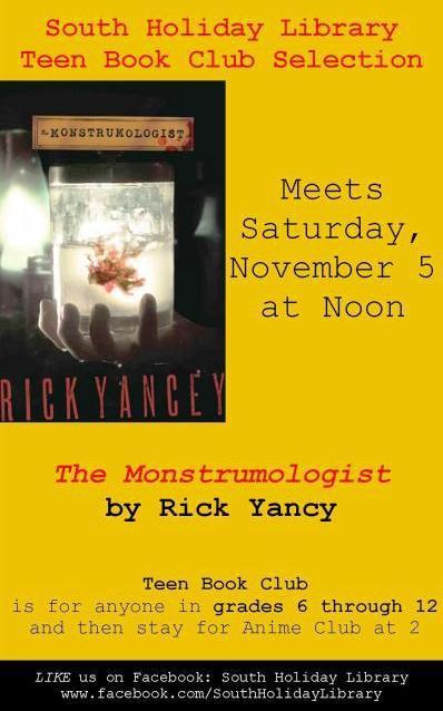 Teen Book Club Meets on Saturday 11/5 at Noon at South Holiday