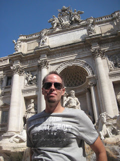 Visiting the Trevi Fountain.