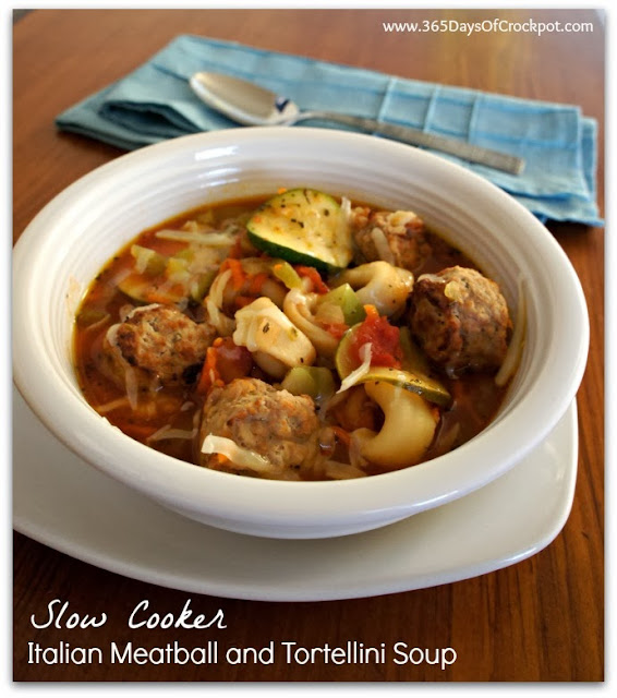 Crockpot recipe for Italian Meatball and Tortellini Soup #soup #crockpot #slowcooker #dinner