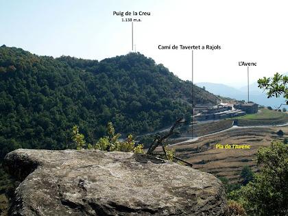 La zona de l'Avenc i el Puig de la Creu des del darrere del fals dolmen