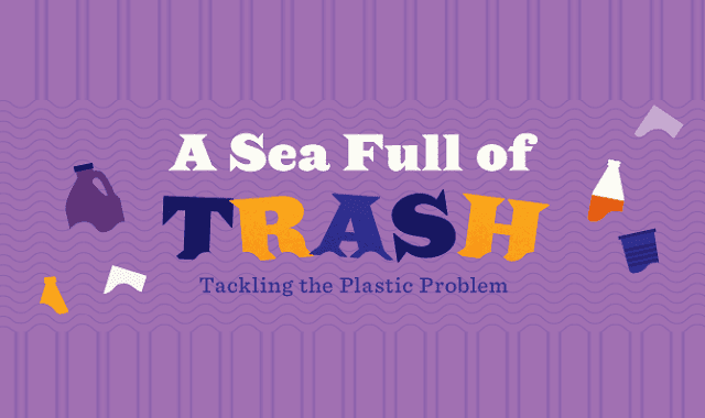 Sea full of trash tackling the plastic problem infographic