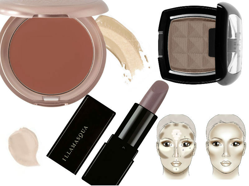 Contour for pale skin tones using grey, taupe and lilac colours.