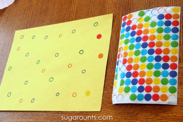 Use stickers to color match and work on eye-hand coordiantion, fine motor skills.