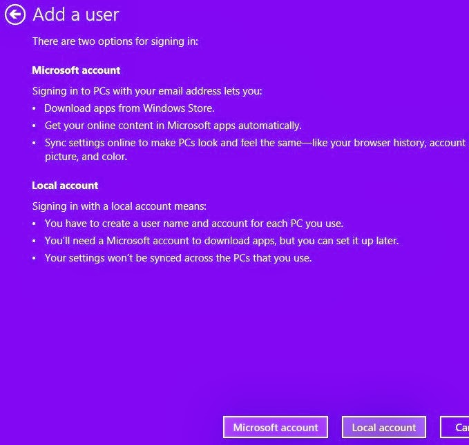 What are the difference betweel microsoft account and local user account in windows 8?