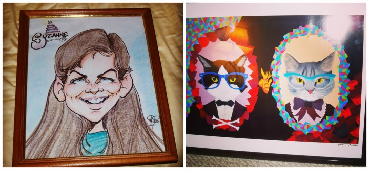 caricature, cartoon, Scamper and Delilah, itsjustjustine Storenvy, cats in glasses, cats in bowties, Instagram collage, art, artwork, A Coin For the Well