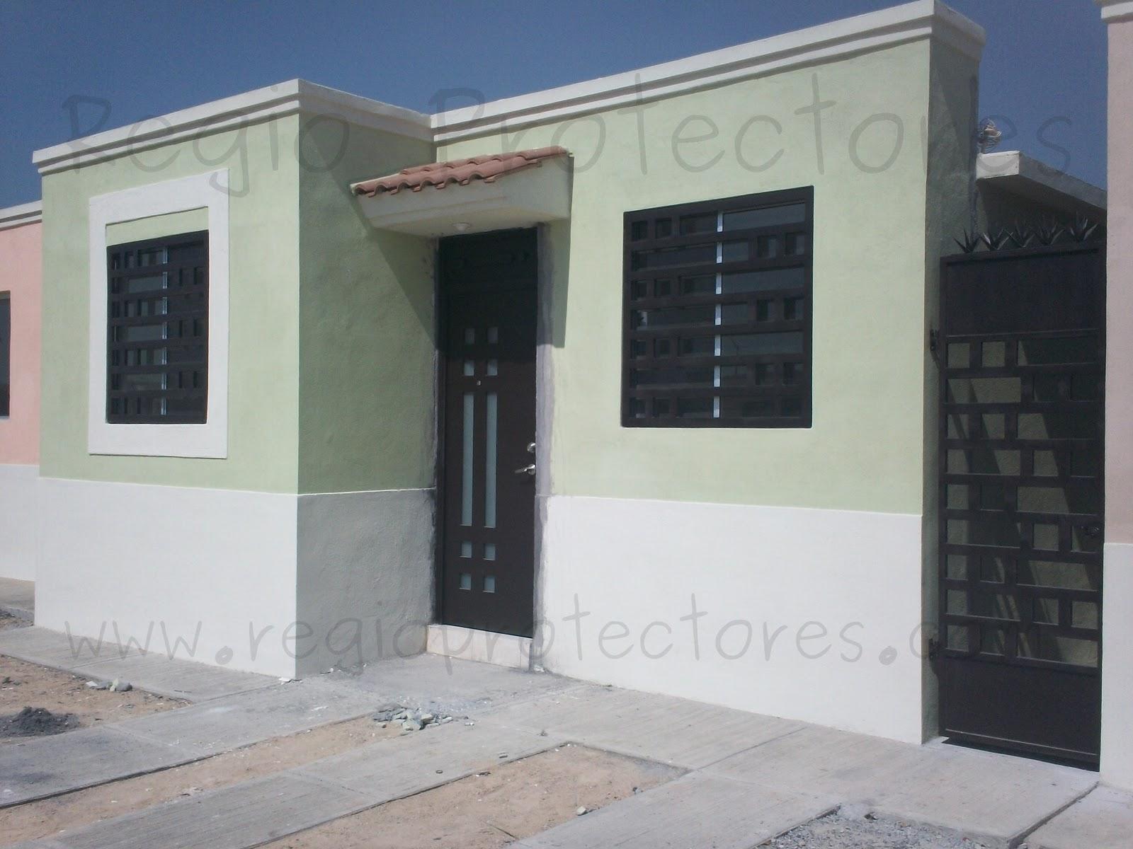 Protectores para ventanas y puerta principal contemporánea instalados
