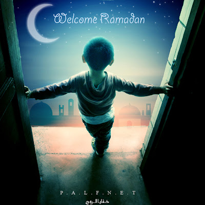 Ramadan kareem wallpapr with wecome text and child in it