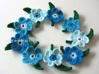 Crochet Flower Applique Blue