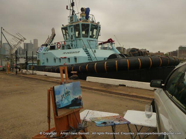 Marine painting- plein air oil painting of tug in Sydney Harbour by marine artist Jane Bennett