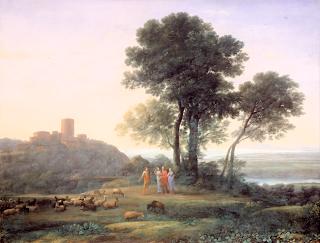 Claude Lorrain: Krajina s Jákobem a jeho dcerami, 1676 - ideální, arkadský typ krajiny od vyhlášeného krajináře
