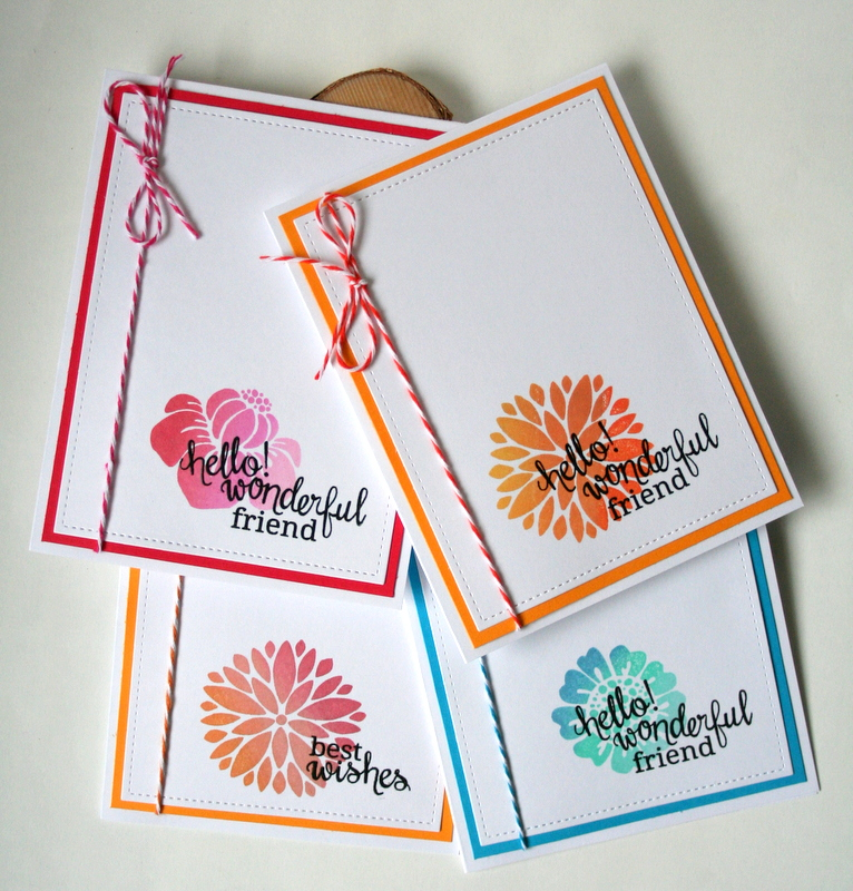 Ombre Stamping Notecard Set by Jess Moyer featuring Newton's Nook Fanciful Florals