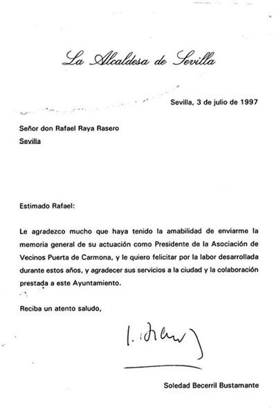 ESCRITO DE LA ALCALDESA DE SEVILLA