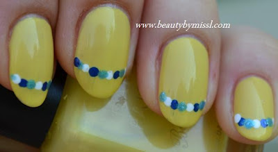 yellow blue nails