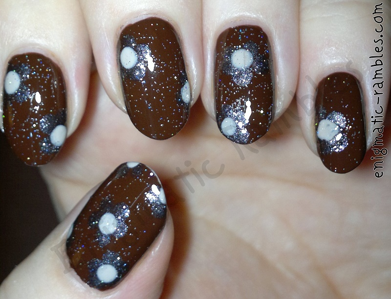 brown-floral-dot-dots-nail-art-nails-elf-chocolate-leighton-denny-be-unique-avon-street-beige-jessica-holographic-top-coat