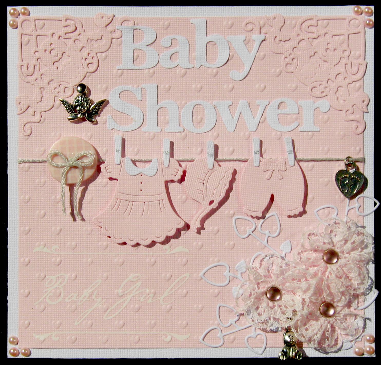 Baby Shower Kort Text ~ Lisa olsi en scrappande kattägare ett rosa baby shower kort