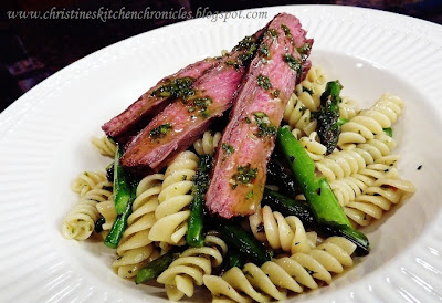 Steak, Asparagus, and Chimichurri Pasta