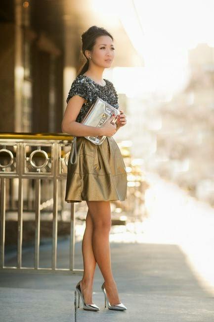 Tendência  moda mistura dourado e prateado