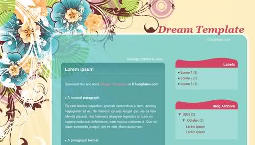 Free Blogger Flowers Art Design Dreams Web2.0 Template