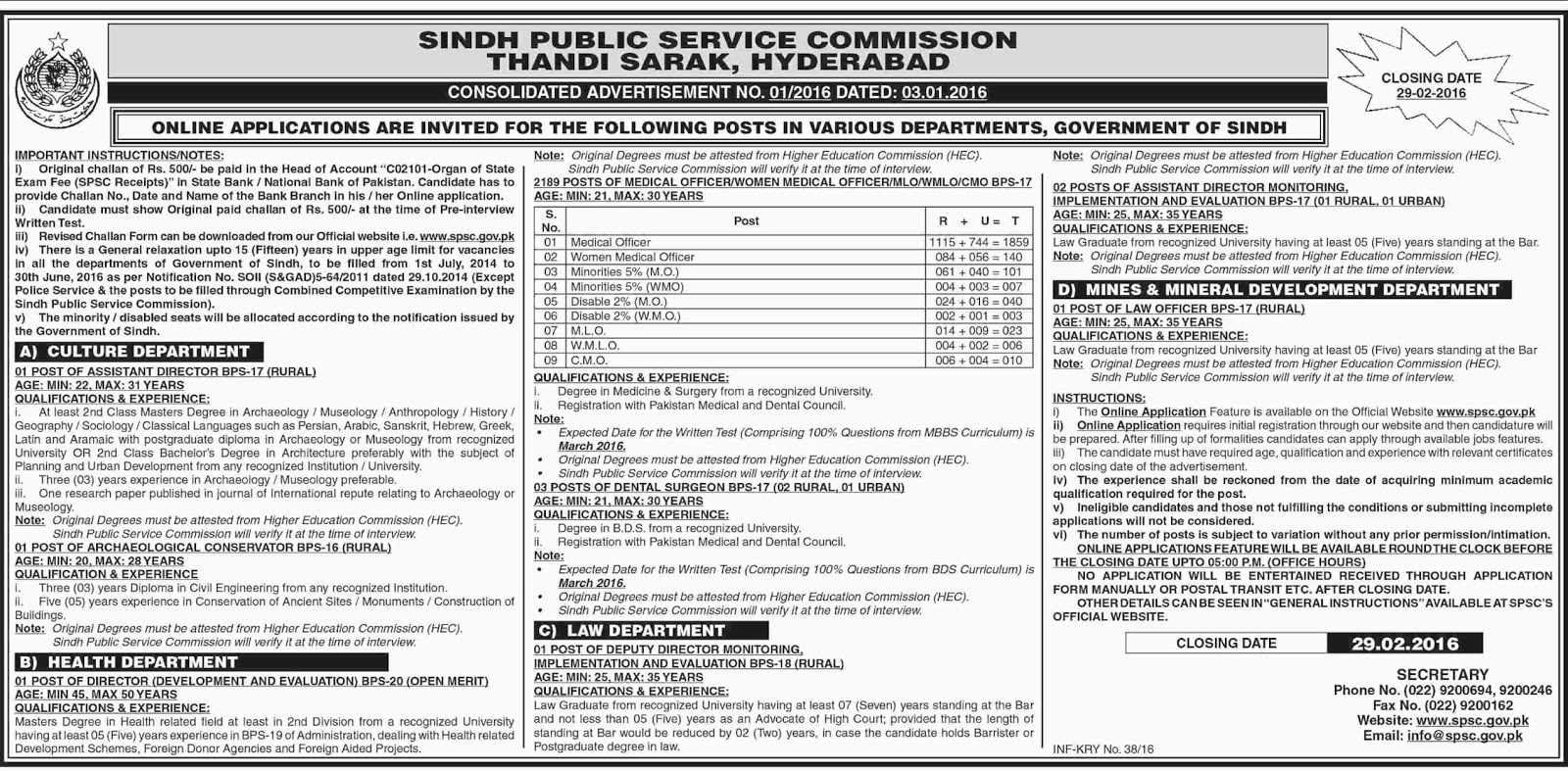 MBBS Doctors Jobs in Sindh Public Service Commission 2016