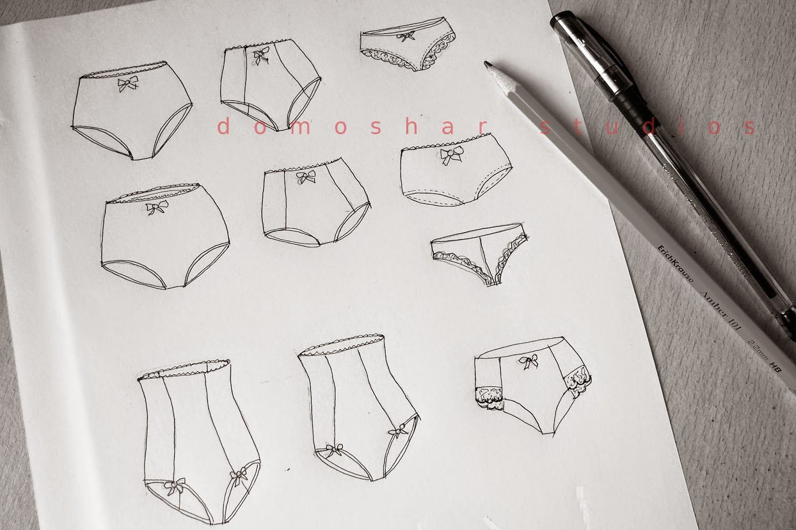 on my table today - lingerie sketches