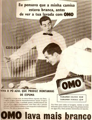 Propaganda machista do sabão em pó OMO, anos 50: mulheres sendo vistas como 'rainha dos lares'